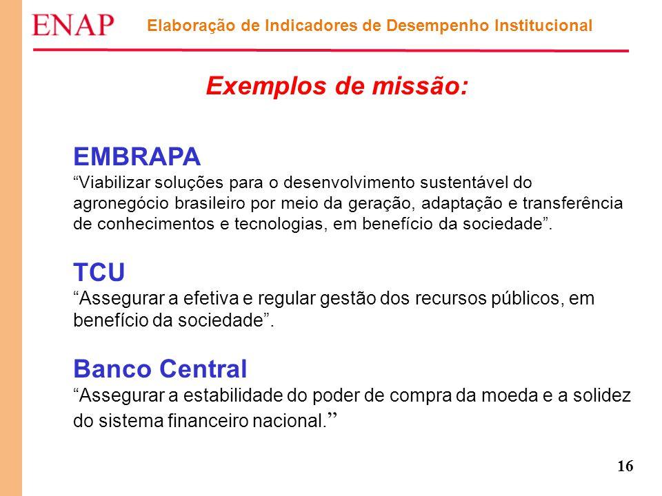 """16 Exemplos de missão: EMBRAPA """"Viabilizar soluções para o desenvolvimento sustentável do agronegócio brasileiro por meio da geração, adaptação e tran"""