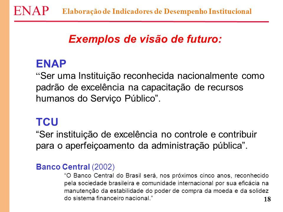 """18 Exemplos de visão de futuro: ENAP """" Ser uma Instituição reconhecida nacionalmente como padrão de excelência na capacitação de recursos humanos do S"""