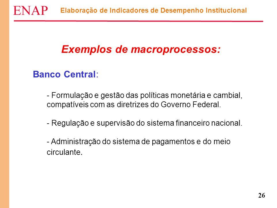26 Exemplos de macroprocessos: Banco Central: - Formulação e gestão das políticas monetária e cambial, compatíveis com as diretrizes do Governo Federa