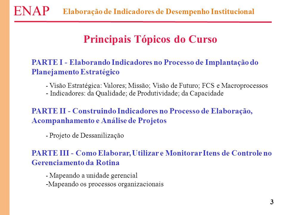 3 Principais Tópicos do Curso PARTE I - Elaborando Indicadores no Processo de Implantação do Planejamento Estratégico - Visão Estratégica: Valores; Mi