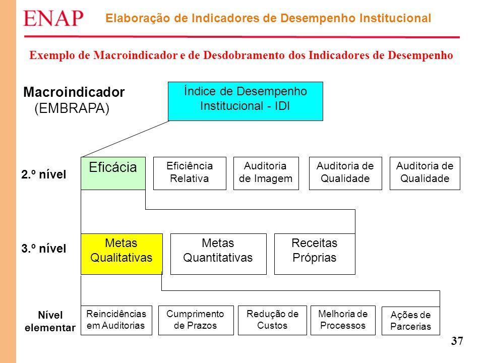 37 Elaboração de Indicadores de Desempenho Institucional Exemplo de Macroindicador e de Desdobramento dos Indicadores de Desempenho Macroindicador (EM