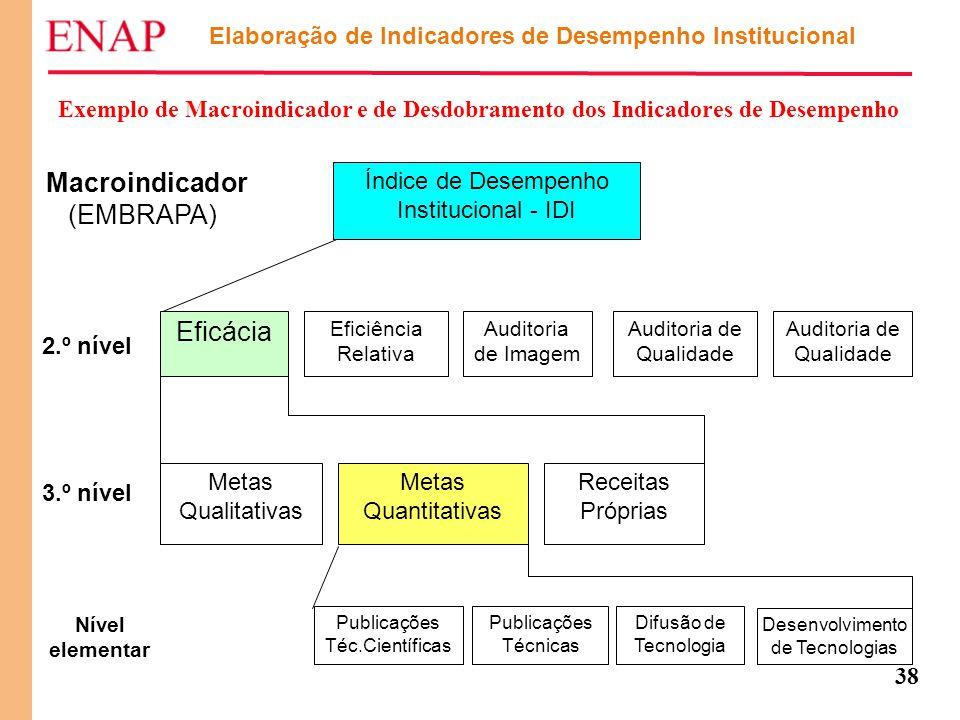 38 Elaboração de Indicadores de Desempenho Institucional Exemplo de Macroindicador e de Desdobramento dos Indicadores de Desempenho Macroindicador (EM