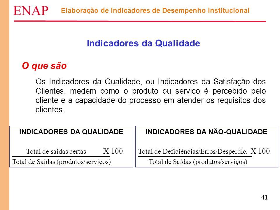 41 Elaboração de Indicadores de Desempenho Institucional Indicadores da Qualidade O que são Os Indicadores da Qualidade, ou Indicadores da Satisfação