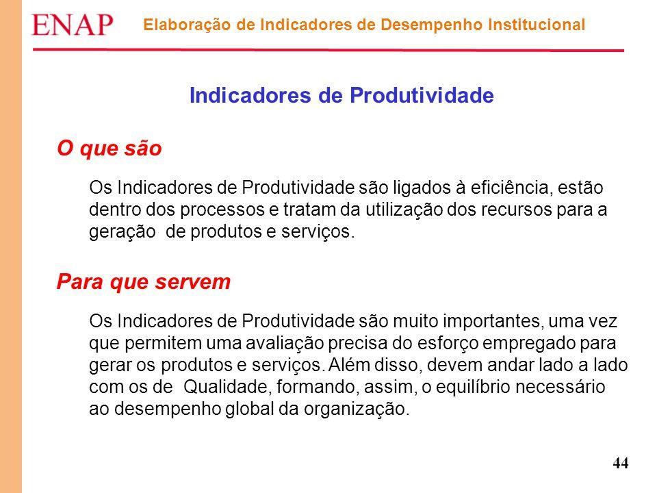 44 Elaboração de Indicadores de Desempenho Institucional Indicadores de Produtividade O que são Os Indicadores de Produtividade são ligados à eficiênc