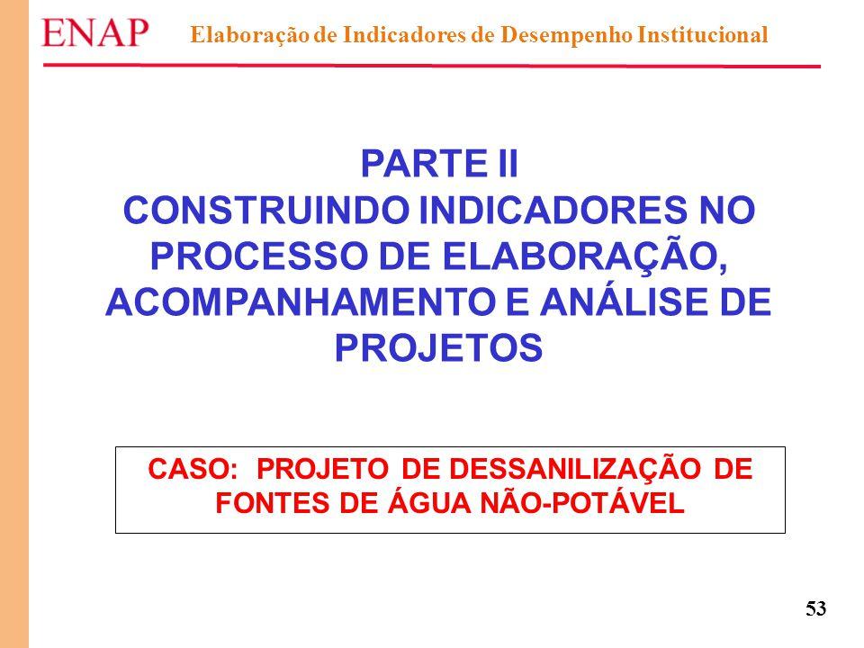 53 Elaboração de Indicadores de Desempenho Institucional PARTE II CONSTRUINDO INDICADORES NO PROCESSO DE ELABORAÇÃO, ACOMPANHAMENTO E ANÁLISE DE PROJE