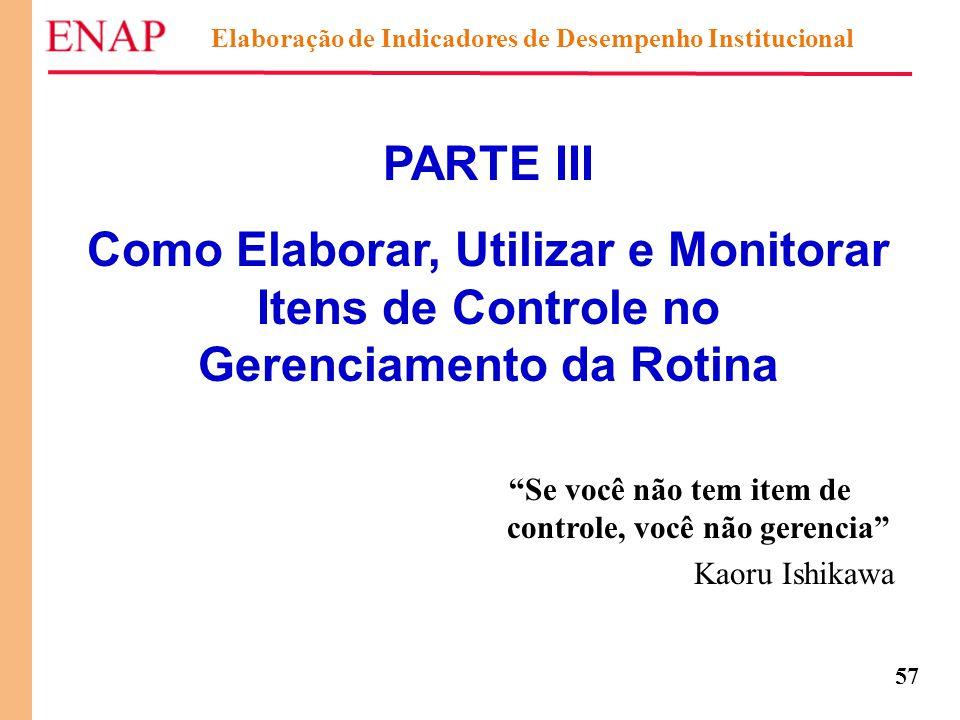 """57 Elaboração de Indicadores de Desempenho Institucional PARTE III Como Elaborar, Utilizar e Monitorar Itens de Controle no Gerenciamento da Rotina """"S"""