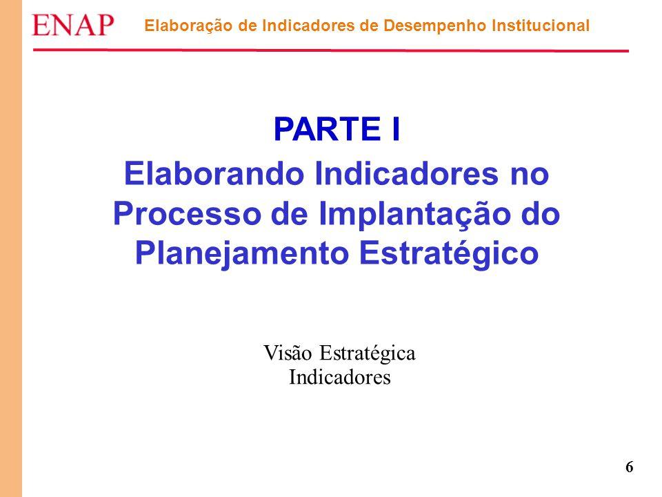 6 PARTE I Elaborando Indicadores no Processo de Implantação do Planejamento Estratégico Elaboração de Indicadores de Desempenho Institucional Visão Es
