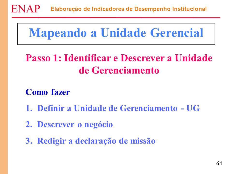 64 Mapeando a Unidade Gerencial Como fazer 1.Definir a Unidade de Gerenciamento - UG 2.Descrever o negócio 3.Redigir a declaração de missão Passo 1: I