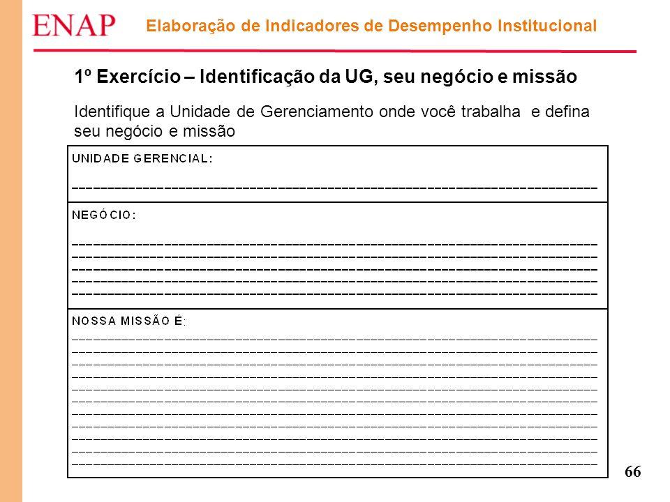 66 Elaboração de Indicadores de Desempenho Institucional 1º Exercício – Identificação da UG, seu negócio e missão Identifique a Unidade de Gerenciamen
