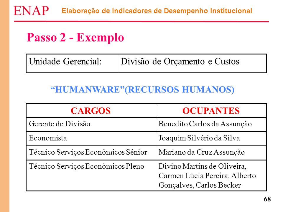 68 Elaboração de Indicadores de Desempenho Institucional Passo 2 - Exemplo Divisão de Orçamento e CustosUnidade Gerencial: Divino Martins de Oliveira,