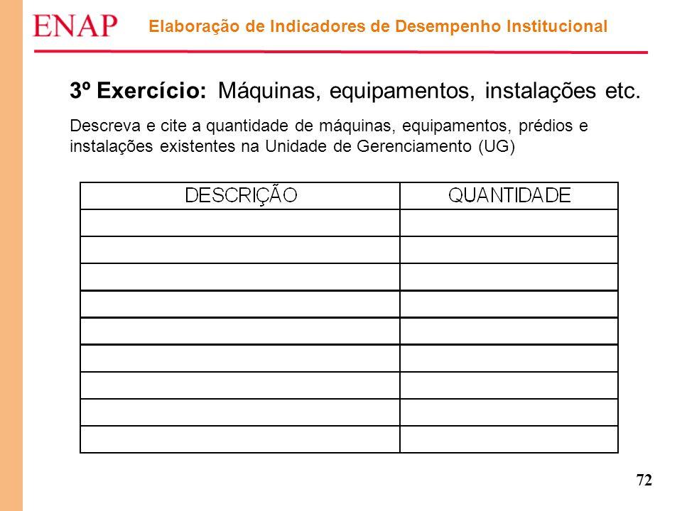 72 Elaboração de Indicadores de Desempenho Institucional 3º Exercício: Máquinas, equipamentos, instalações etc. Descreva e cite a quantidade de máquin