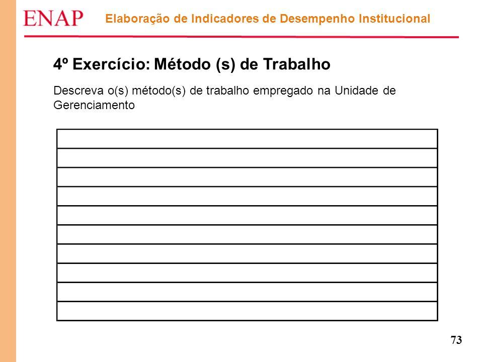 73 Elaboração de Indicadores de Desempenho Institucional 4º Exercício: Método (s) de Trabalho Descreva o(s) método(s) de trabalho empregado na Unidade