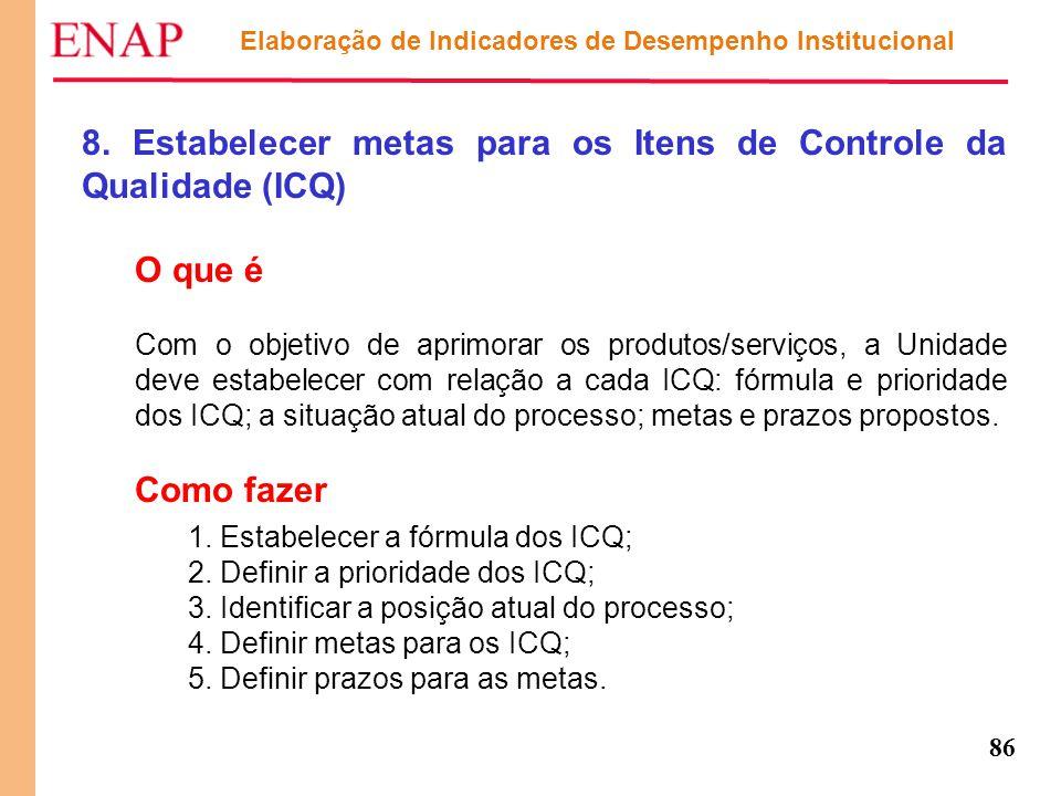 86 8. Estabelecer metas para os Itens de Controle da Qualidade (ICQ) O que é Com o objetivo de aprimorar os produtos/serviços, a Unidade deve estabele