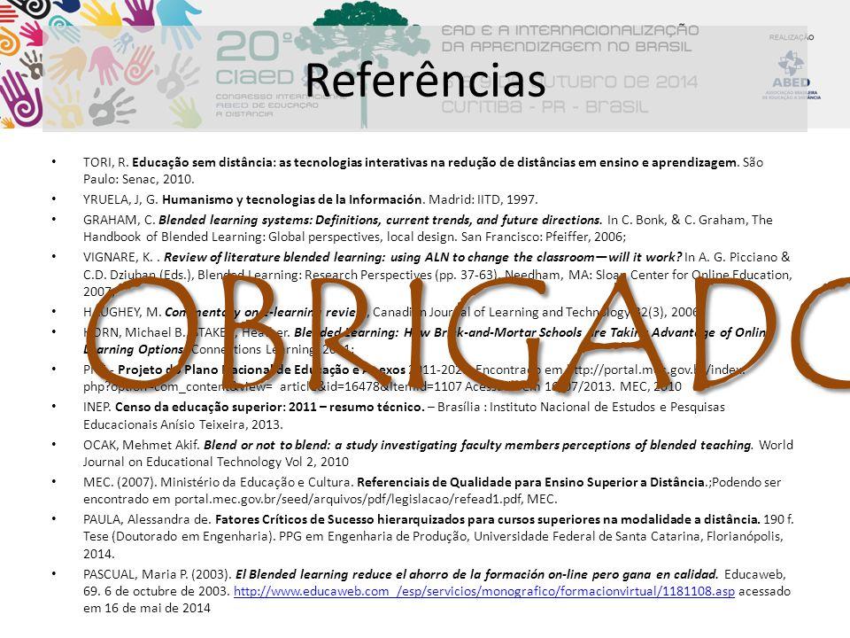 Referências TORI, R. Educação sem distância: as tecnologias interativas na redução de distâncias em ensino e aprendizagem. São Paulo: Senac, 2010. YRU