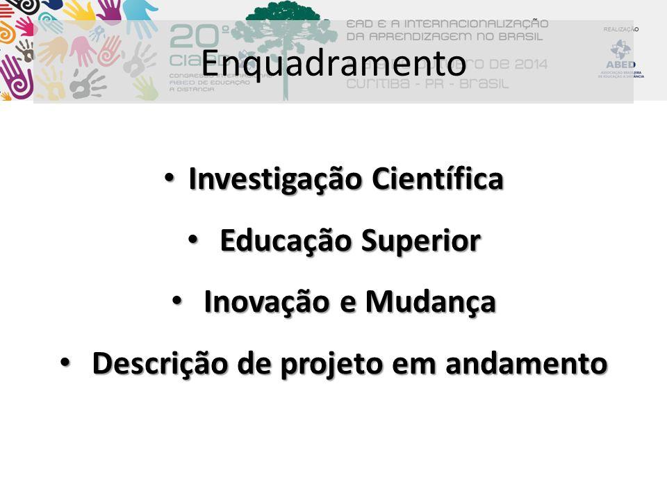Enquadramento Investigação Científica Investigação Científica Educação Superior Educação Superior Inovação e Mudança Inovação e Mudança Descrição de p