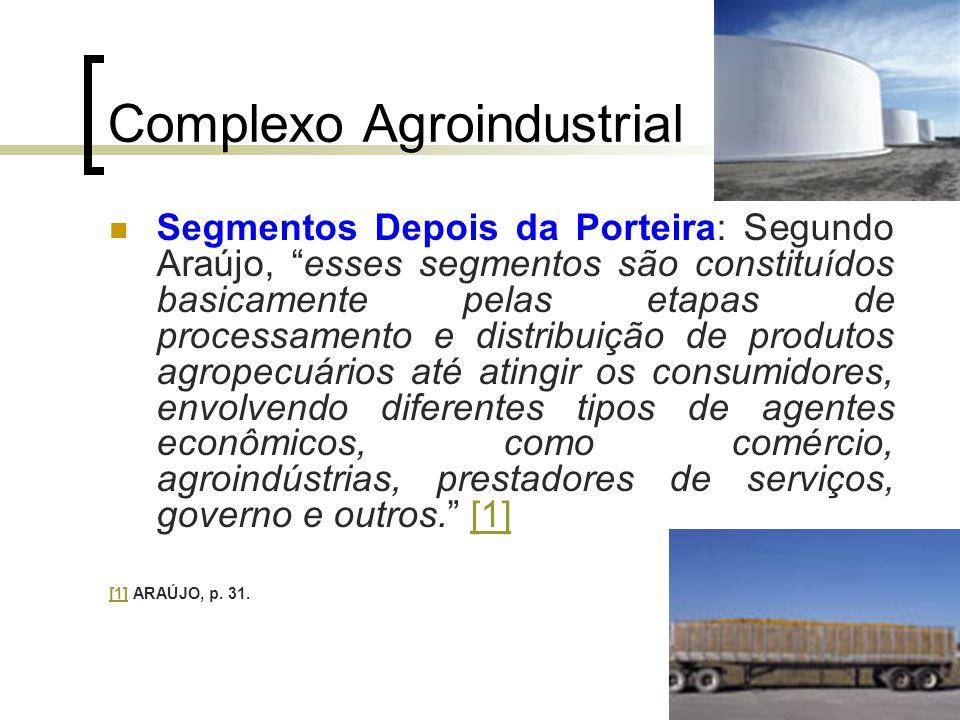 """Complexo Agroindustrial Segmentos Depois da Porteira: Segundo Araújo, """"esses segmentos são constituídos basicamente pelas etapas de processamento e di"""