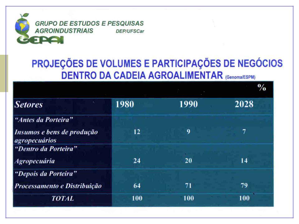 Em 2004, de acordo com o MAPA o agronegócio foi responsável por:  33% do PIB, estimando-se em US$ 180,2 bilhões o PIB do setor;  42% das exportações totais, cerca de US$ 36 bilhões;  37% dos empregos brasileiros, sendo cerca de 17,7 milhões de trabalhadores só no campo.