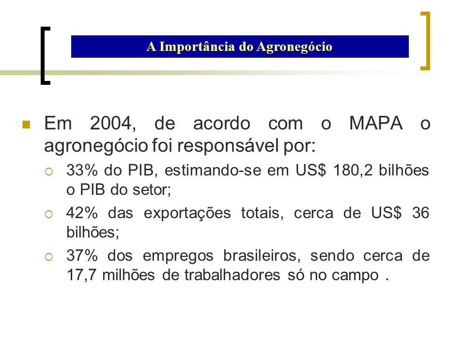 Em 2004, de acordo com o MAPA o agronegócio foi responsável por:  33% do PIB, estimando-se em US$ 180,2 bilhões o PIB do setor;  42% das exportações