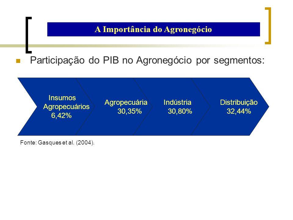 Participação do PIB no Agronegócio por segmentos: A Importância do Agronegócio Fonte: Gasques et al. (2004). Insumos Agropecuários 6,42% Agropecuária
