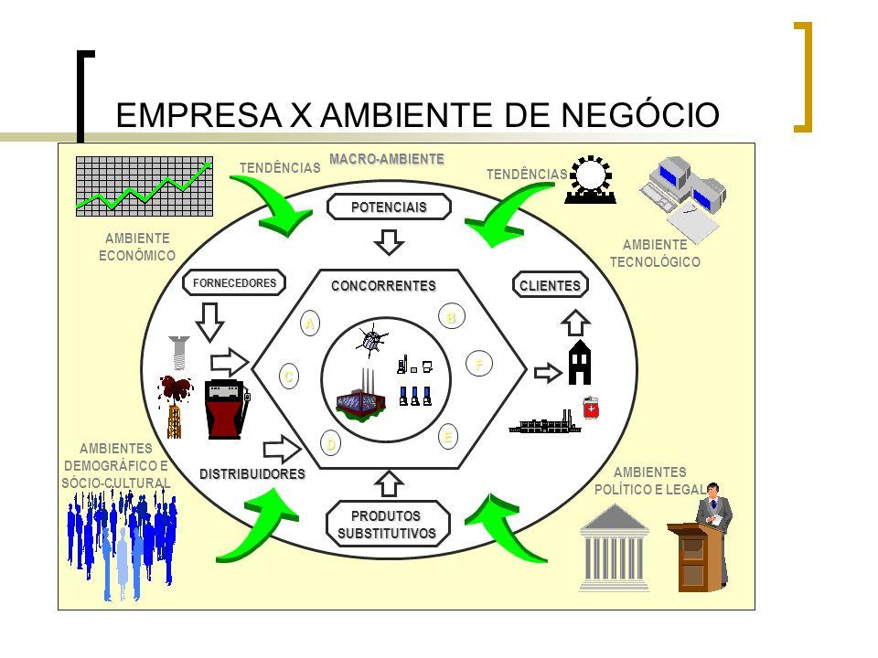 EMPRESA X AMBIENTE DE NEGÓCIO POTENCIAIS PRODUTOSSUBSTITUTIVOS CONCORRENTES MACRO-AMBIENTE AMBIENTE ECONÔMICO TENDÊNCIAS AMBIENTE TECNOLÓGICO AMBIENTE
