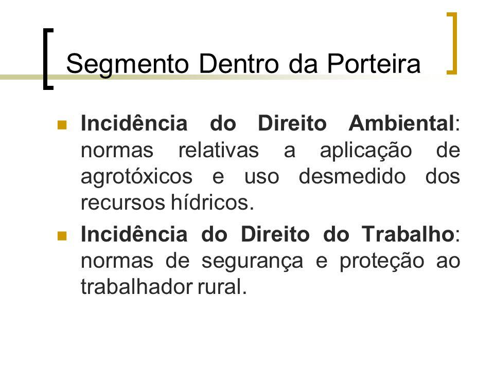 Segmento Dentro da Porteira Incidência do Direito Ambiental: normas relativas a aplicação de agrotóxicos e uso desmedido dos recursos hídricos. Incidê