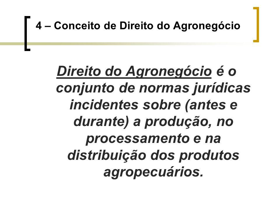 4 – Conceito de Direito do Agronegócio Direito do Agronegócio é o conjunto de normas jurídicas incidentes sobre (antes e durante) a produção, no proce