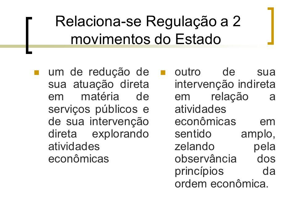 Relaciona-se Regulação a 2 movimentos do Estado um de redução de sua atuação direta em matéria de serviços públicos e de sua intervenção direta explor