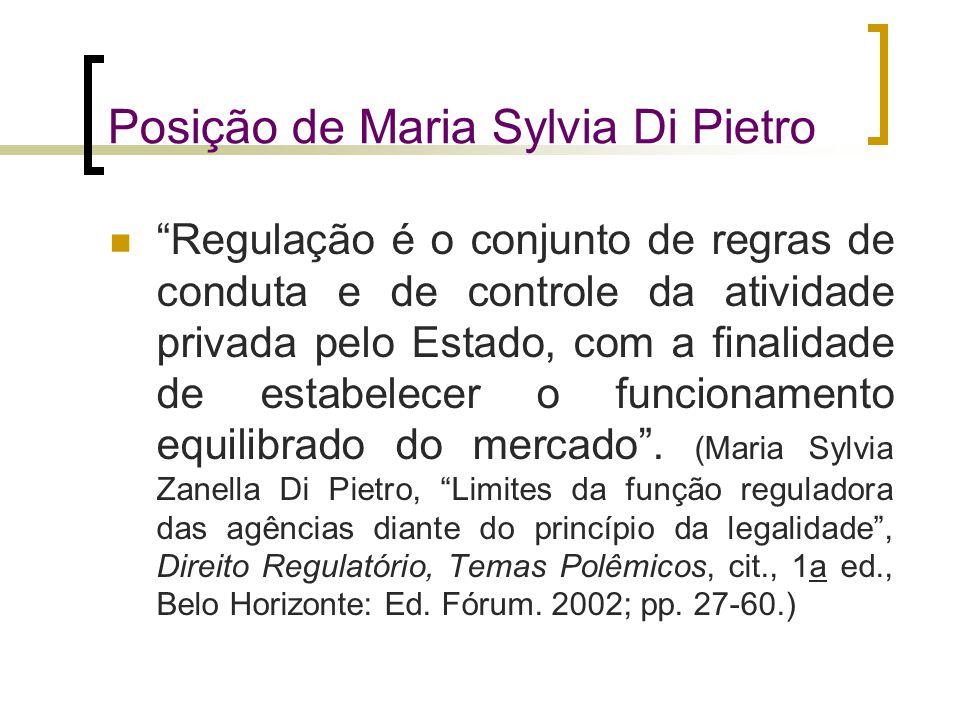 """Posição de Maria Sylvia Di Pietro """"Regulação é o conjunto de regras de conduta e de controle da atividade privada pelo Estado, com a finalidade de est"""