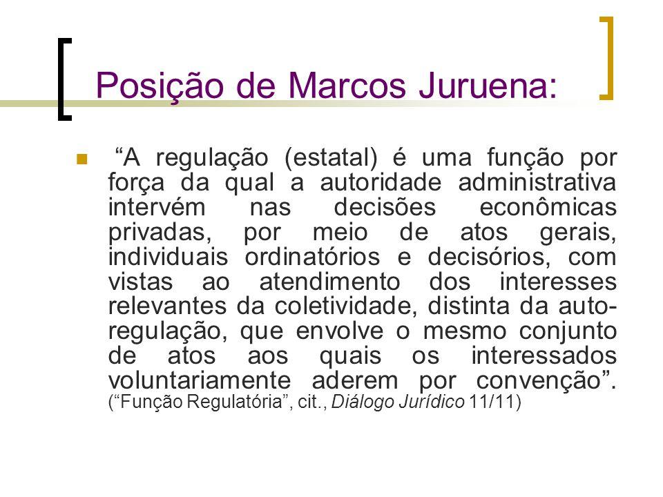"""Posição de Marcos Juruena: """"A regulação (estatal) é uma função por força da qual a autoridade administrativa intervém nas decisões econômicas privadas"""