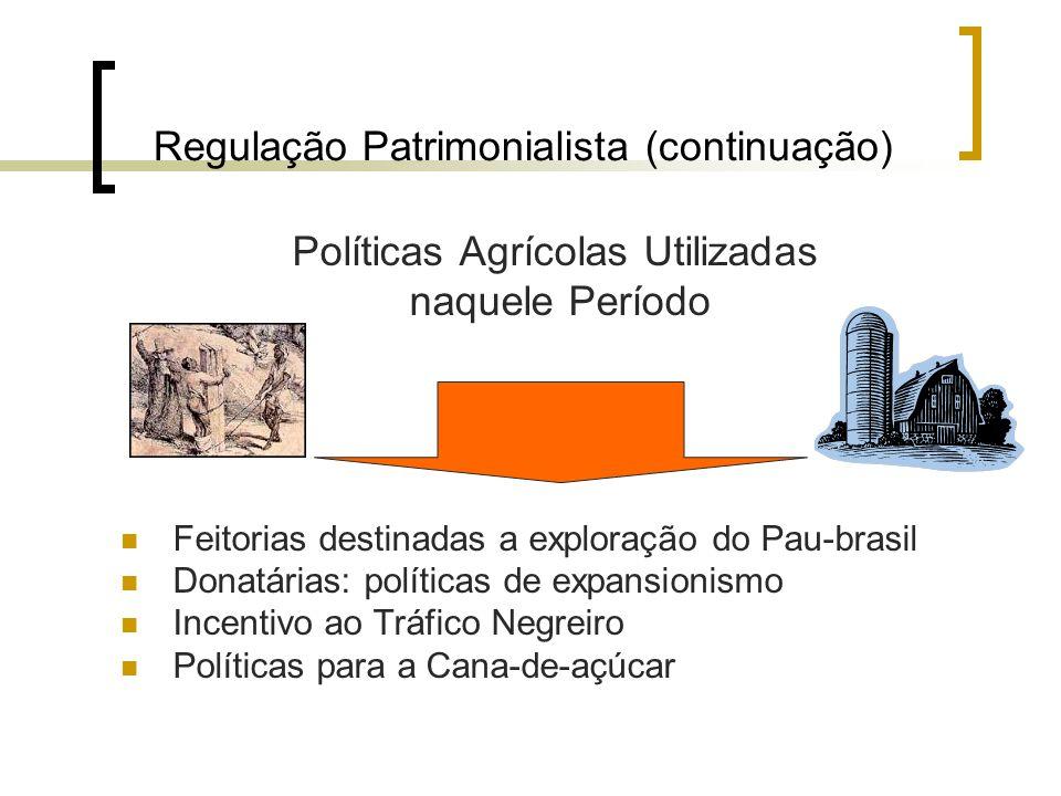 Regulação Patrimonialista (continuação) Políticas Agrícolas Utilizadas naquele Período Feitorias destinadas a exploração do Pau-brasil Donatárias: pol