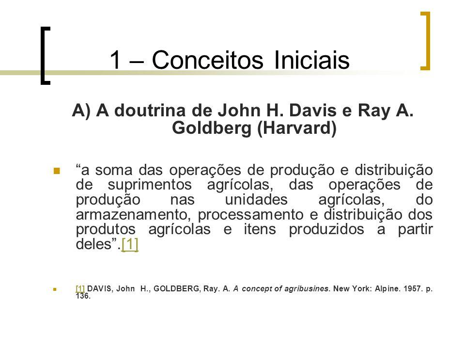 """1 – Conceitos Iniciais A) A doutrina de John H. Davis e Ray A. Goldberg (Harvard) """"a soma das operações de produção e distribuição de suprimentos agrí"""