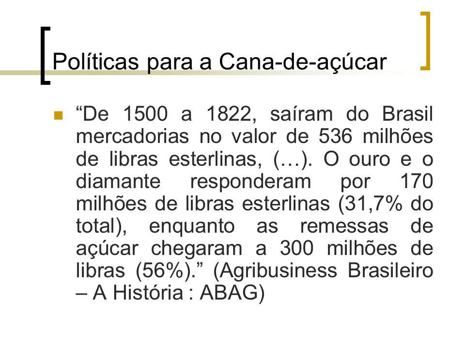 """Políticas para a Cana-de-açúcar """"De 1500 a 1822, saíram do Brasil mercadorias no valor de 536 milhões de libras esterlinas, (…). O ouro e o diamante r"""