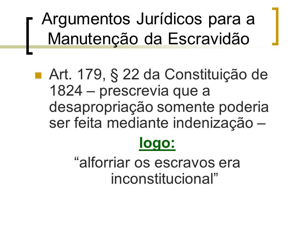 Argumentos Jurídicos para a Manutenção da Escravidão Art. 179, § 22 da Constituição de 1824 – prescrevia que a desapropriação somente poderia ser feit
