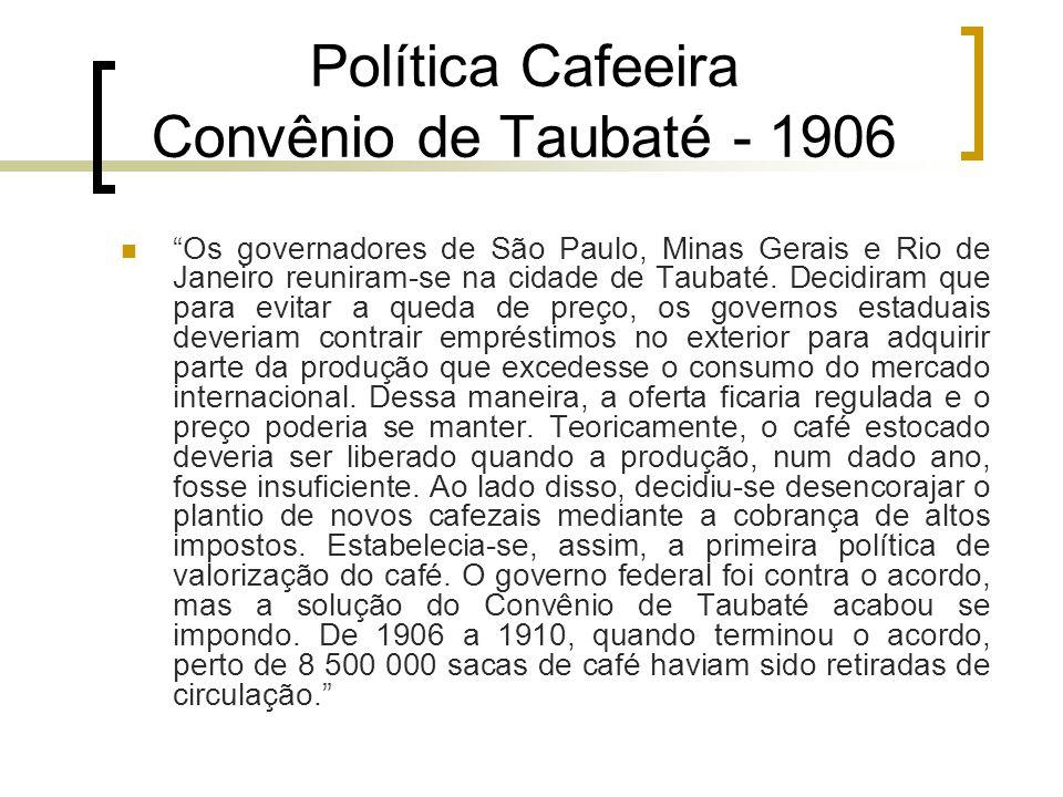 """Política Cafeeira Convênio de Taubaté - 1906 """"Os governadores de São Paulo, Minas Gerais e Rio de Janeiro reuniram-se na cidade de Taubaté. Decidiram"""