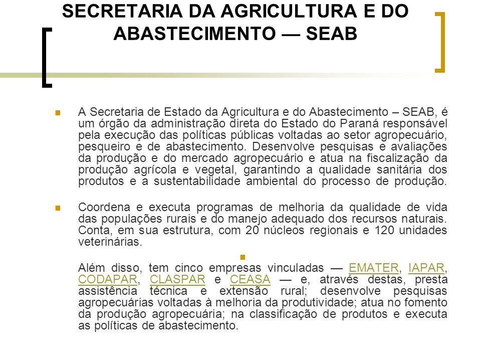 SECRETARIA DA AGRICULTURA E DO ABASTECIMENTO — SEAB A Secretaria de Estado da Agricultura e do Abastecimento – SEAB, é um órgão da administração diret