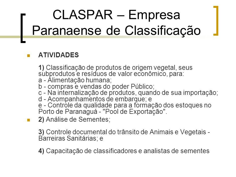 CLASPAR – Empresa Paranaense de Classificação ATIVIDADES 1) Classificação de produtos de origem vegetal, seus subprodutos e resíduos de valor econômic