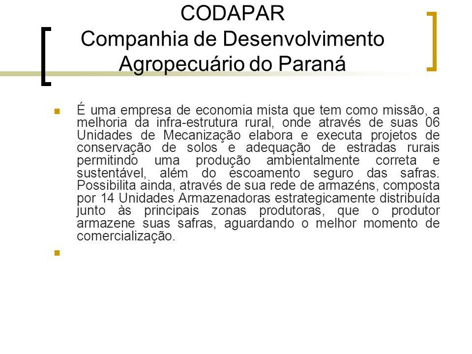 CODAPAR Companhia de Desenvolvimento Agropecuário do Paraná É uma empresa de economia mista que tem como missão, a melhoria da infra-estrutura rural,