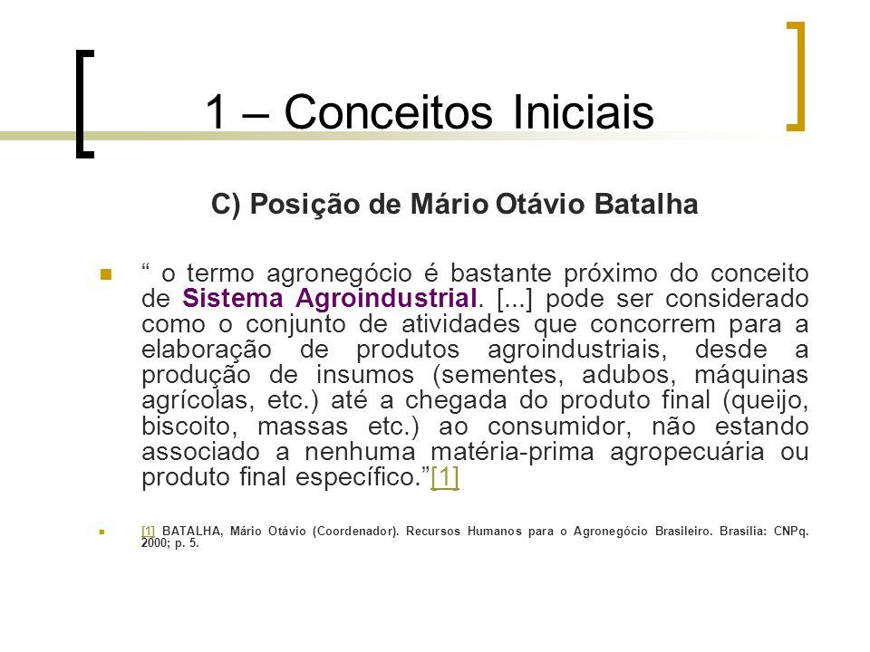 """1 – Conceitos Iniciais C) Posição de Mário Otávio Batalha """" o termo agronegócio é bastante próximo do conceito de Sistema Agroindustrial. [...] pode s"""