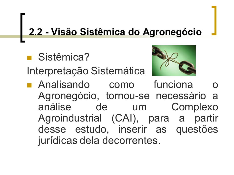 2.2 - Visão Sistêmica do Agronegócio Sistêmica? Interpretação Sistemática Analisando como funciona o Agronegócio, tornou-se necessário a análise de um
