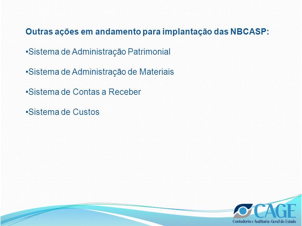 Outras ações em andamento para implantação das NBCASP: Sistema de Administração Patrimonial Sistema de Administração de Materiais Sistema de Contas a Receber Sistema de Custos