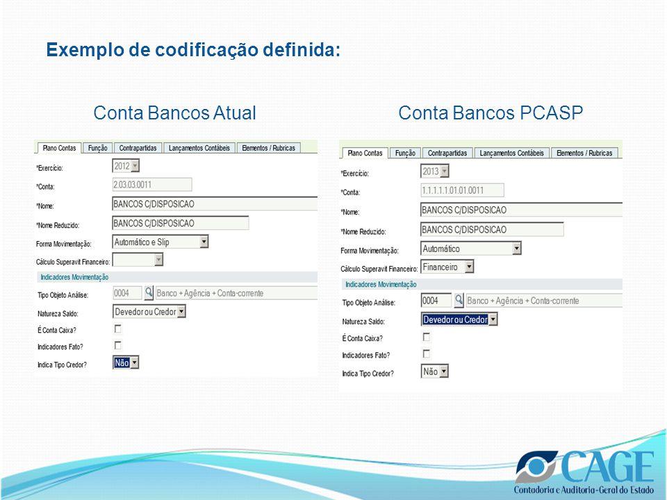 Exemplo de codificação definida: Conta Bancos AtualConta Bancos PCASP