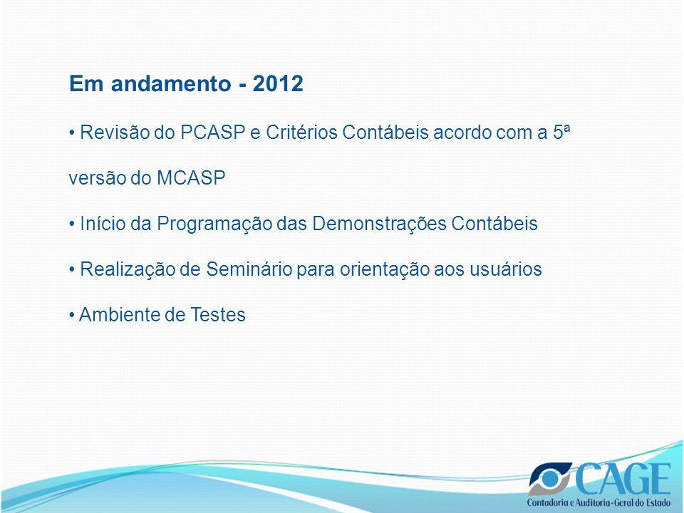 Em andamento - 2012 Revisão do PCASP e Critérios Contábeis acordo com a 5ª versão do MCASP Início da Programação das Demonstrações Contábeis Realização de Seminário para orientação aos usuários Ambiente de Testes