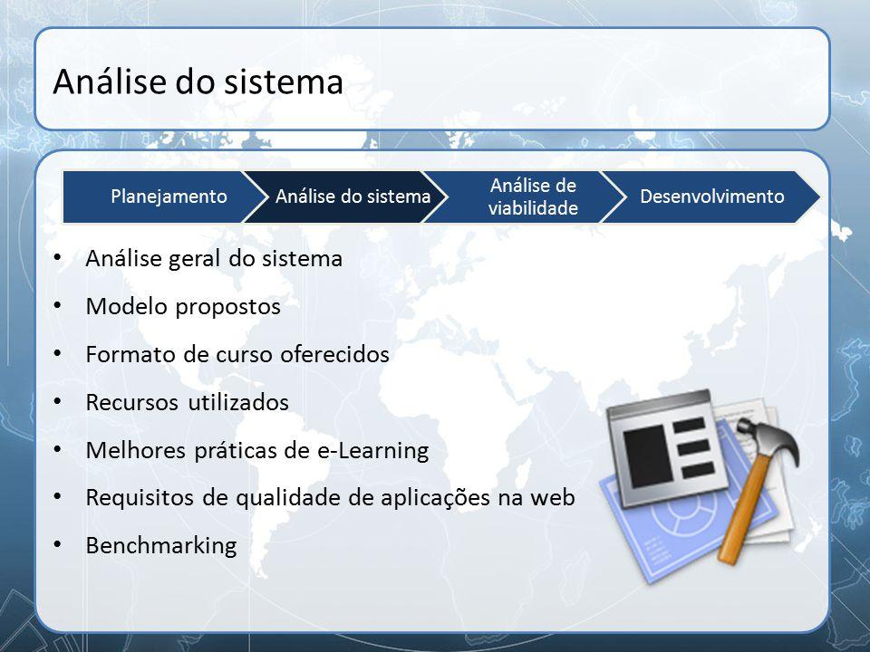 Análise do sistema Análise geral do sistema Modelo propostos Formato de curso oferecidos Recursos utilizados Melhores práticas de e-Learning Requisito