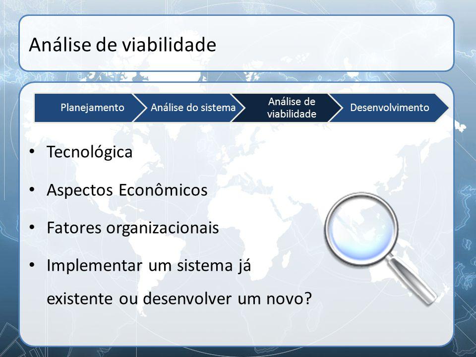 Análise de viabilidade Tecnológica Aspectos Econômicos Fatores organizacionais Implementar um sistema já existente ou desenvolver um novo? Planejament