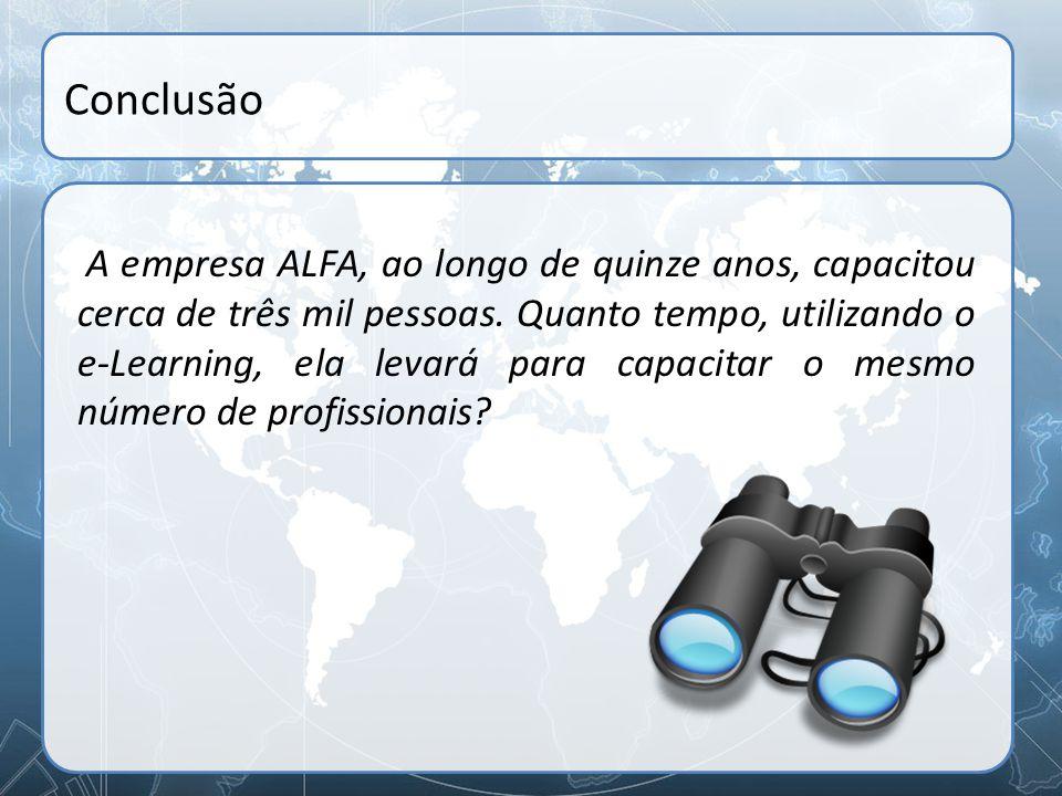Conclusão A empresa ALFA, ao longo de quinze anos, capacitou cerca de três mil pessoas. Quanto tempo, utilizando o e-Learning, ela levará para capacit