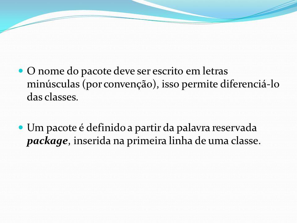 O nome do pacote deve ser escrito em letras minúsculas (por convenção), isso permite diferenciá-lo das classes.