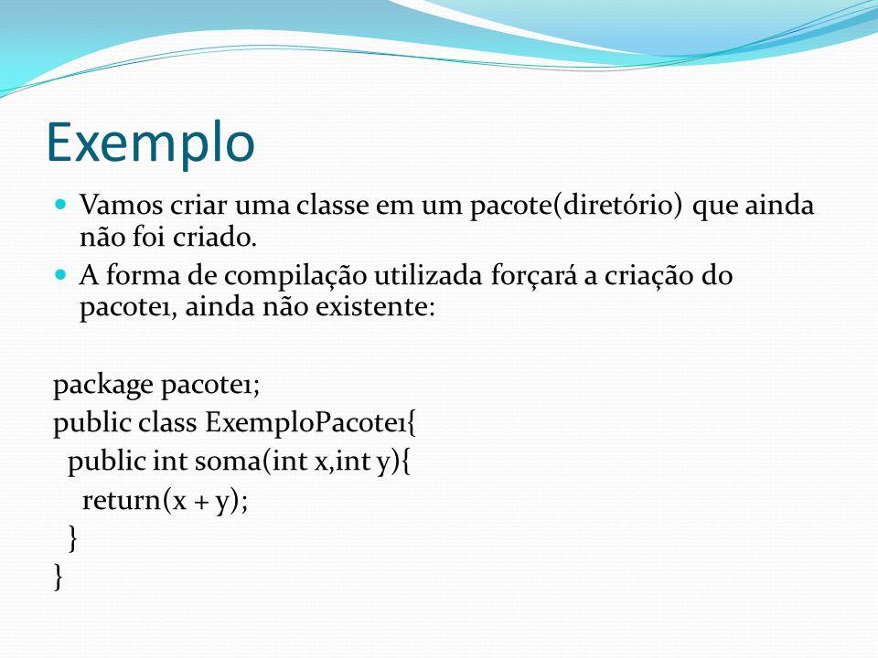 Exemplo Vamos criar uma classe em um pacote(diretório) que ainda não foi criado.