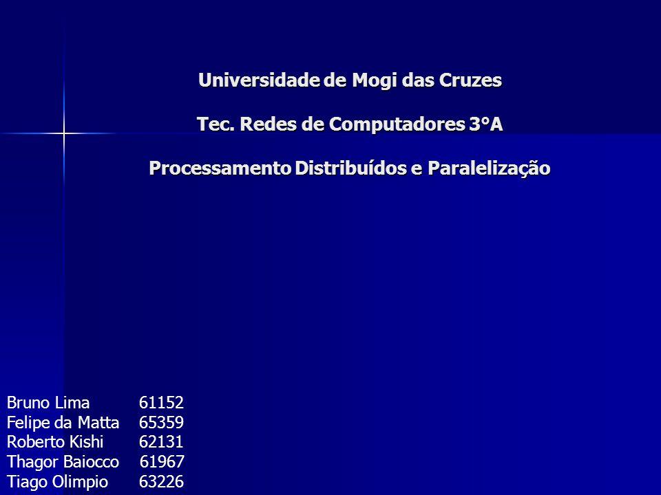Universidade de Mogi das Cruzes Tec. Redes de Computadores 3°A Processamento Distribuídos e Paralelização Bruno Lima61152 Felipe da Matta65359 Roberto