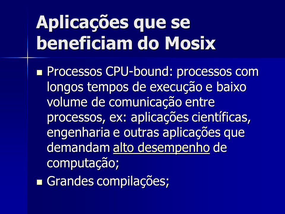 Aplicações que se beneficiam do Mosix Processos CPU-bound: processos com longos tempos de execução e baixo volume de comunicação entre processos, ex: