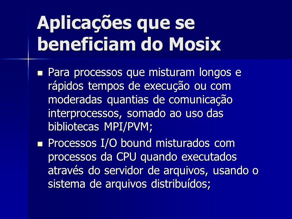 Aplicações que se beneficiam do Mosix Para processos que misturam longos e rápidos tempos de execução ou com moderadas quantias de comunicação interpr